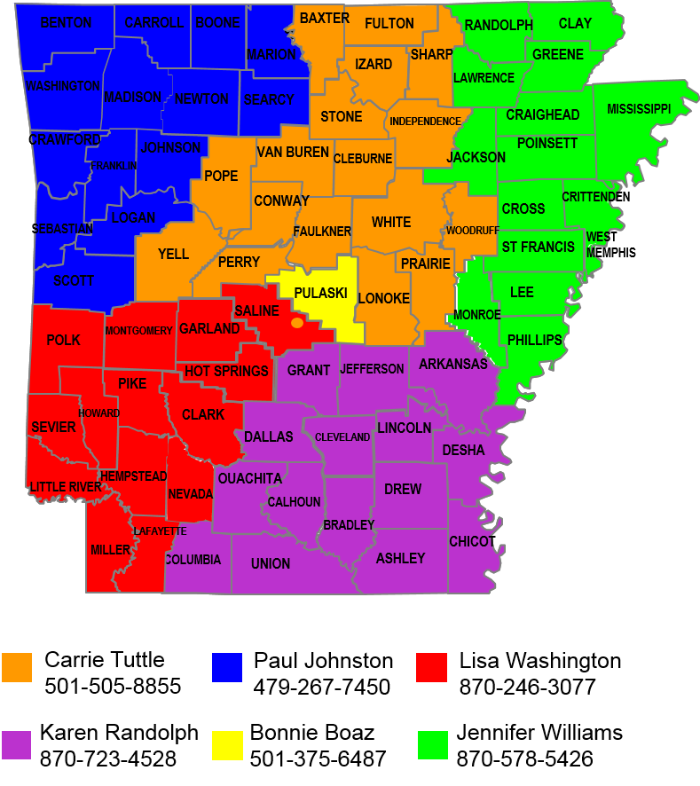 Color-coded map of Arkansas regional consultant assignments